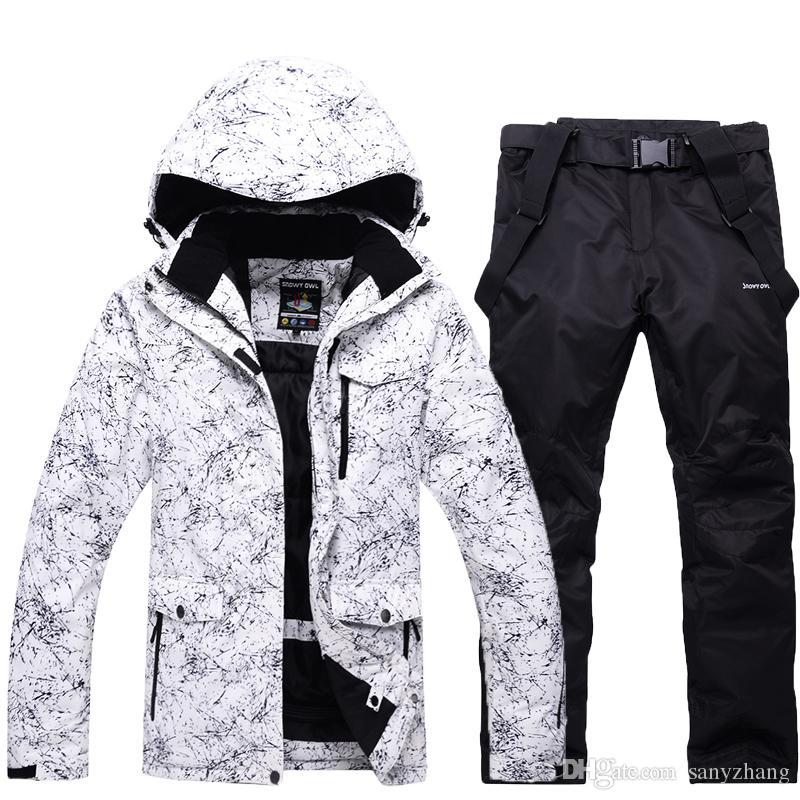 -30 белый Взрослые женщины и мужчины лыжная одежда сноуборд наборы водонепроницаемый ветрозащитный дышащий открытый снег пиджак и пояс брюки Unsex