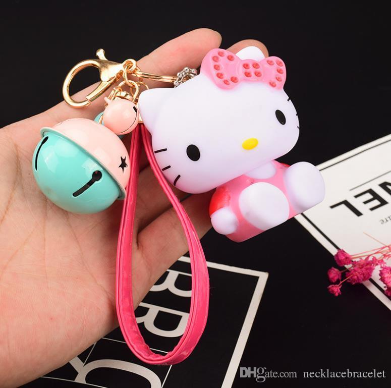8 styles New fashion Jingle cats doll Key Chain Accessories cartoon Tassel Key Ring Bear bell Car Keychain toy mini car Charm