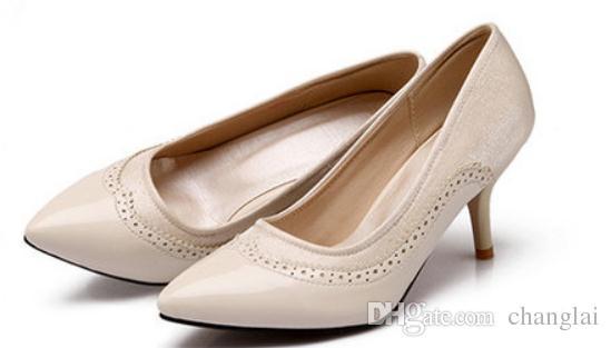 Invio gratuito 2018 primavera nuovo stile coreano punta fine tacco fine tacco alto di piccole dimensioni e scarpe da donna super-grandi dimensioni