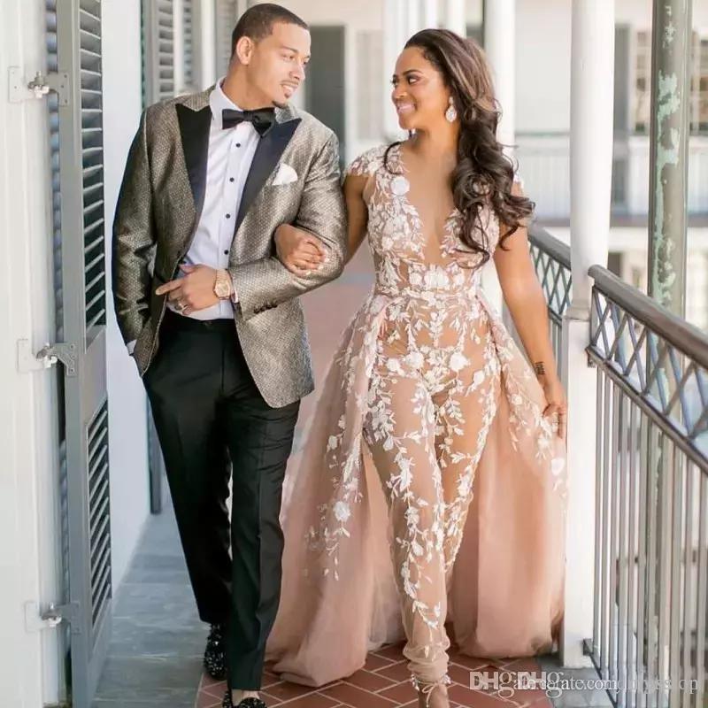 Champagne Jumpsuit Lace Wedding Dresses With Overskirt Sheer V Neck Cap Sleeve Bridal Gowns Sweep Train Saudi Arabic Wedding Dress Custom