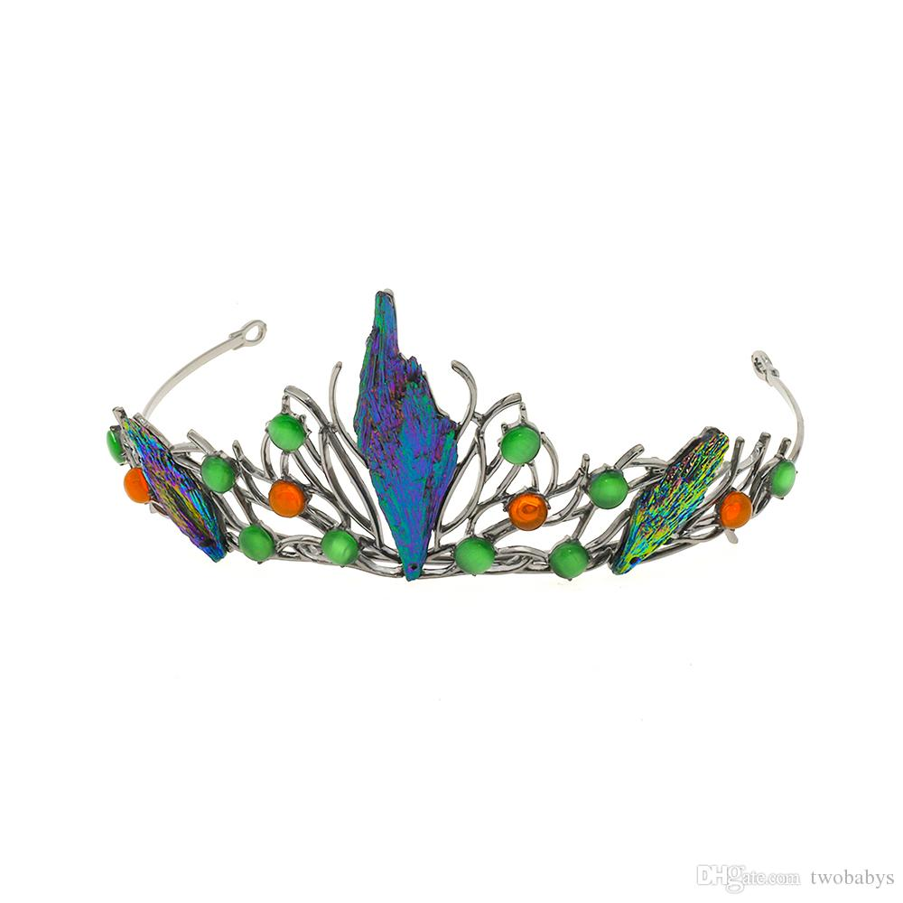 Green Crystal Handmade Crown Wedding hair Jewelry Baroque Wedding Party Headbands Fashion Hair Ornaments Bridal Tiara