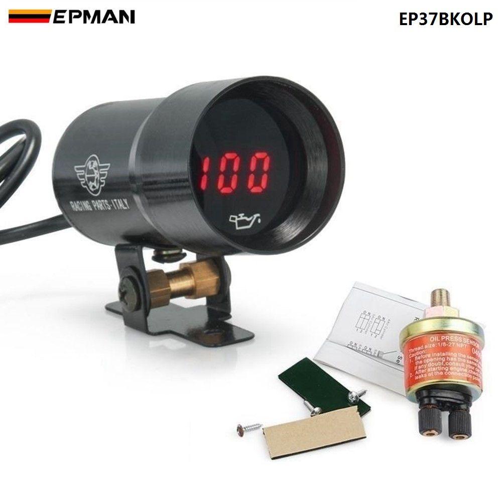 EPMAN - - 37mm meter / gauge MICRO DIGITAL SMOKED OIL PRESSURE GAUGE UNIVERSAL 4-6-8 CYLINDER ENGINES Black/Purple EP37BKOLP