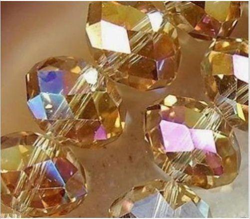 100pcs / lot 6MM TOPAZ AB Faceted Kristal rondelle ayırıcı Boncuk DIY Takı yapımı