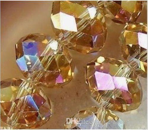 100pcs / lot 6m m TOPAZ AB cristalino tallado espaciador del rondelle para preparar la joyería DIY