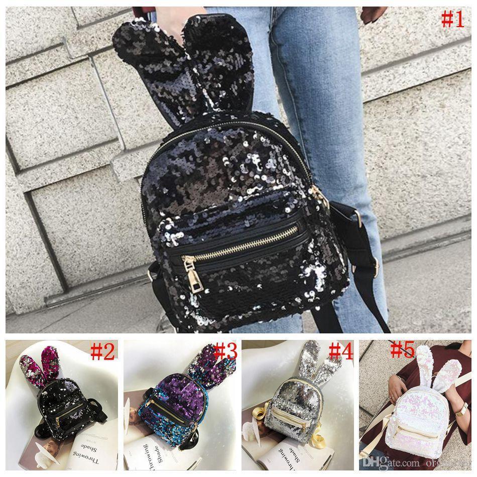 Girls Sequins Rabbit Ear Backpack Women Shoulder Bag Schoolbags Handbag Satchel Bag Cute Bling Mini Backpacks 5 Styles 50pcs