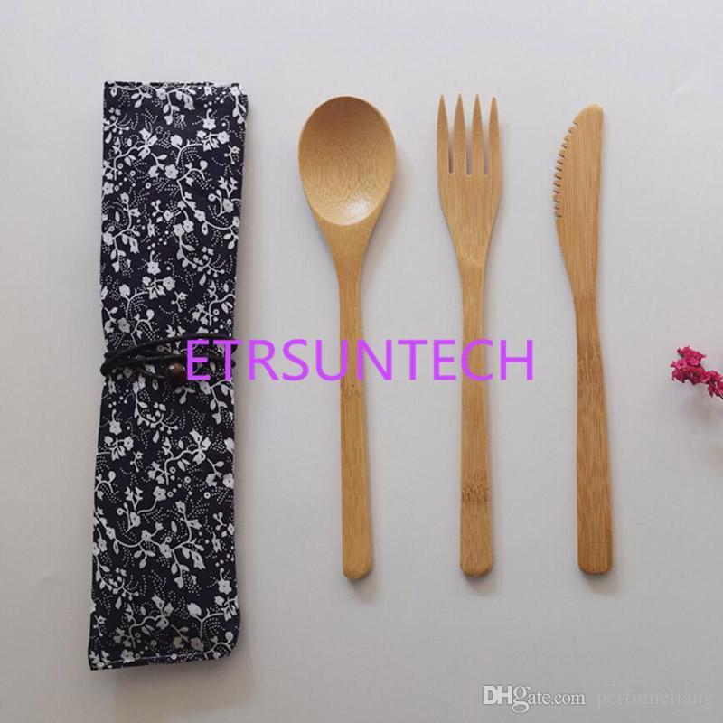 3 Teile / satz Geschirr Set Bambus Gabel Messer Suppe Teelöffel Catering Besteck Mit Stoffbeutel Küche Kochutensilien Utensil QW7745