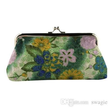 vendita calda Donna Lady portamonete Retro Vintage Fiore Piccolo portafoglio Hasp Purse Borsa frizione borsa femminile Carteira Feminina
