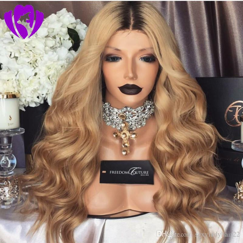 Long blonde Lace Front Wig synthetic hair For Black/White Women Ombre Color lace wig Dark Root Blonde Cosplay Sexy Wig