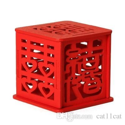 الصينية حلوى الزفاف مربع خشبي أحمر