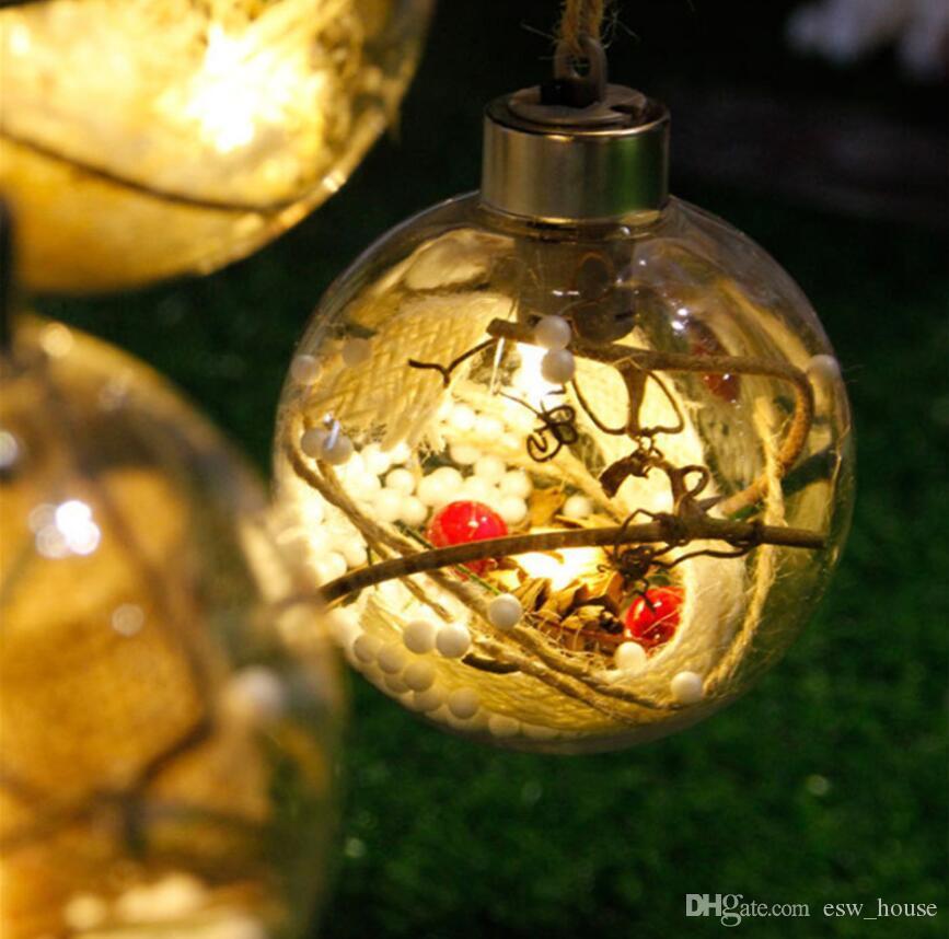شفافة متوهجة عيد الميلاد الكرة زخرفة شجرة عيد الميلاد الحلي مع أضواء هدايا عيد الميلاد للأطفال للديكور المنزل ضياء 8cm