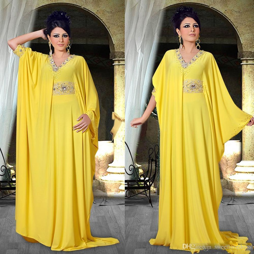 Elegant Yellow Arabic Nigerian Evening Dresses Beaded Collar Sashes Pleasts Party Formal Evening Prom Gowns Runaway Fashion Wears