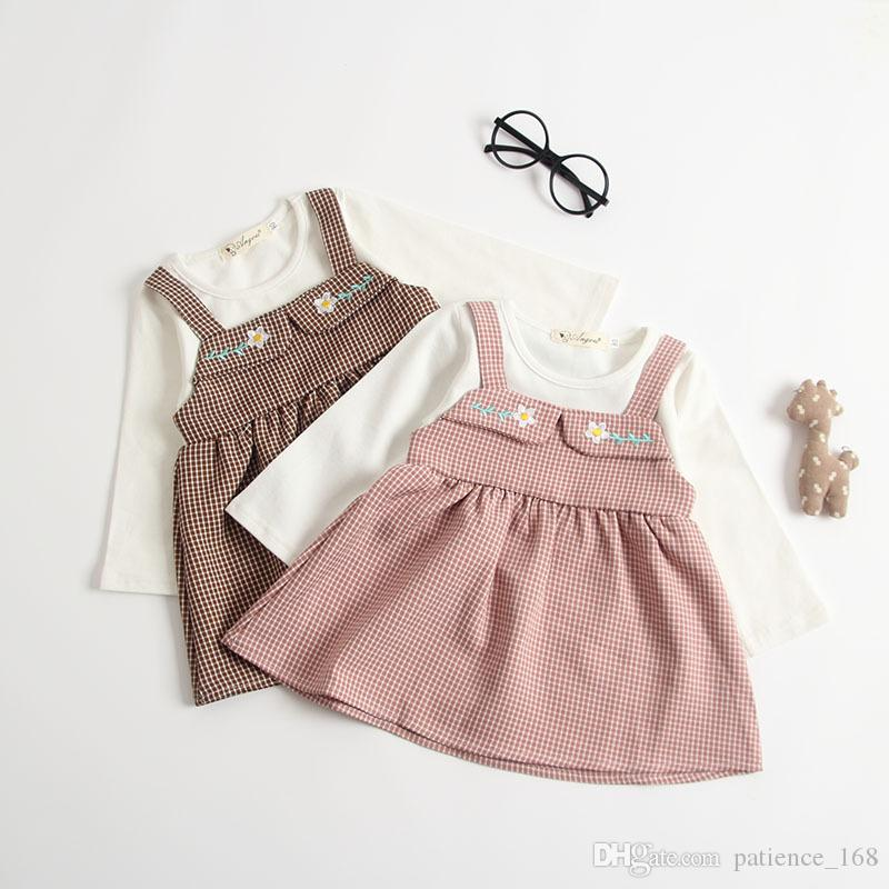 dress 2018 INS Europe and America new arrival baby kids autumn Two false pieces embroidered cotton dress 2 colors free shipping