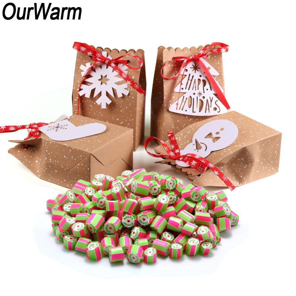 wholesale 12Pcs Christmas Gifts Paper Bag for Party Favor Cookie Candy Kraft Packing Bag Gift Wrap New Year Decoration for Home