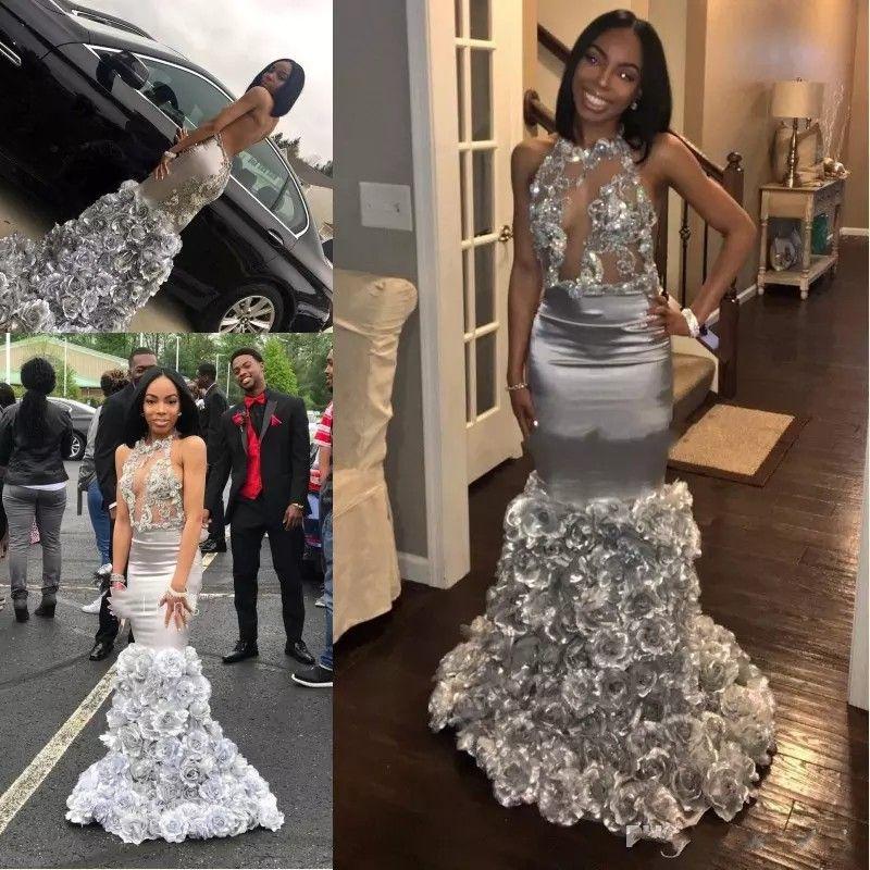 2018 Sexy Silber Abendkleider mit Spitze Applique ärmellosen Meerjungfrau Prom Kleider mit Rose Blumen nach Maß formale Party Kleider