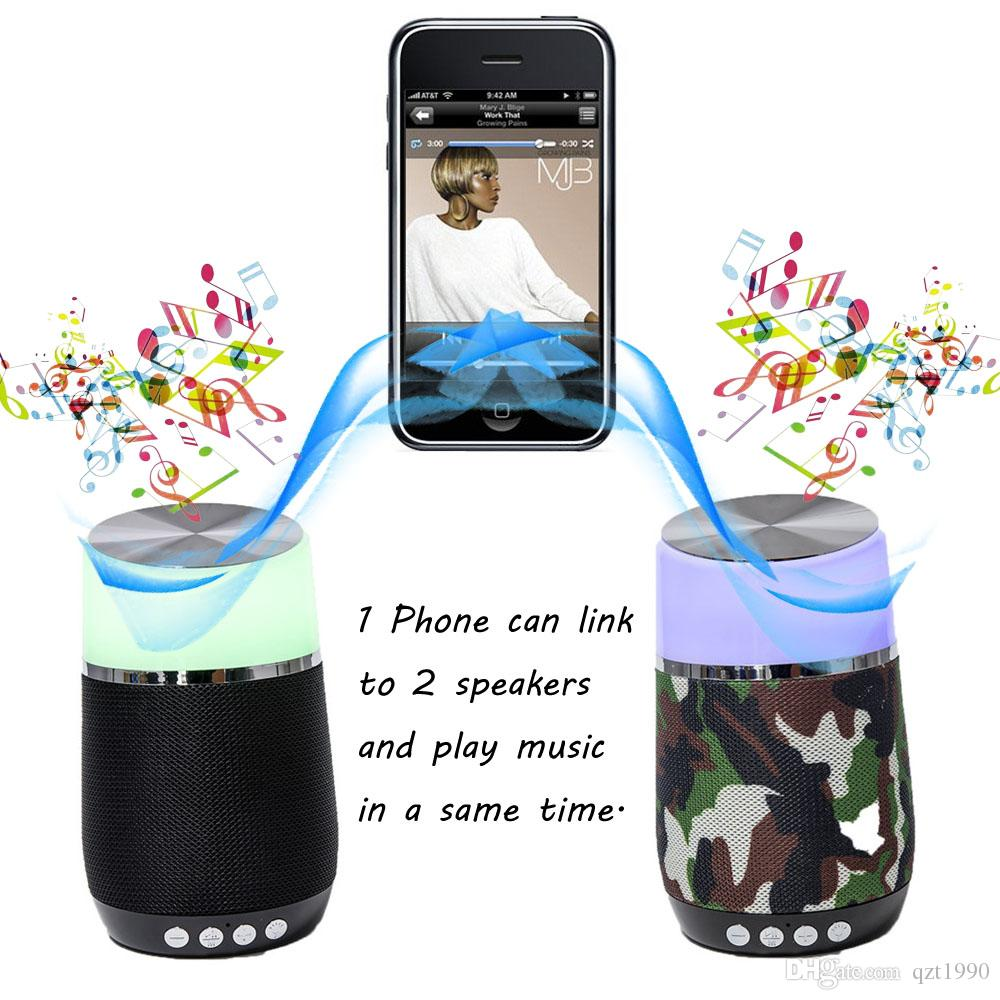 1 Piece Colorful LED Bluetooth Speaker for Smartwatch Wireless TF/USB Phone Computer 1 Phone 2 Speakers Play Music Together HS-002 Speaker