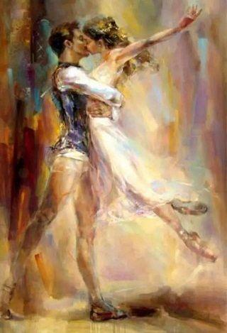 High Quality Razumovskaya Man woman Dancing kiss Ballet,Handmade Portrait Art Oil Painting On Canvas For Wall Decor Multi Sizes / Frame