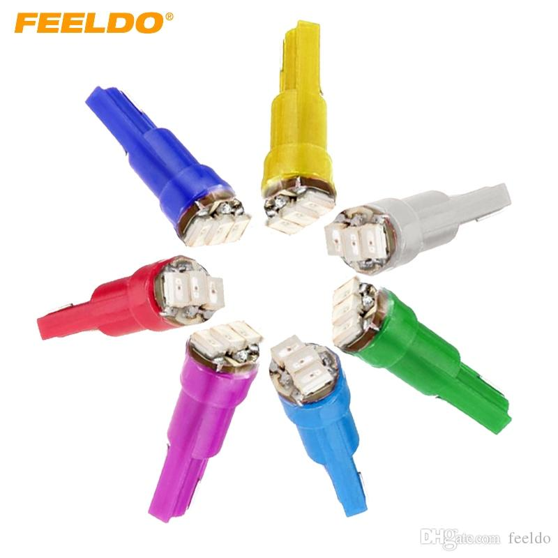 Feeldo 50PCS 7-Color T5 1206 3-SMD 0.1W del cruscotto dell'automobile del calibro lampadine laterale LED Lamp DC 12V # 1455