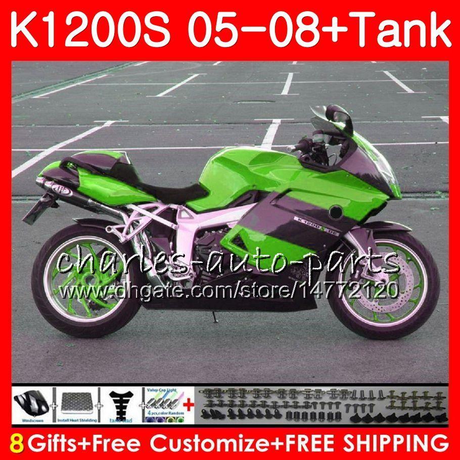 Ciało dla OEM K-1200S K 1200 S Green Black 05 10 K1200 S 05 07 08 09 10 103HM.52 K 1200s K1200S 2005 2006 2007 2008 2000 2010 Zestaw targowy