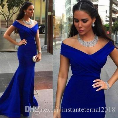Royal Blue Off Shoulder Long Bridesmaid Dresses with Mermaid 2018 Arabic Formal Wedding Guest Gowns Evening Dress Custom Made