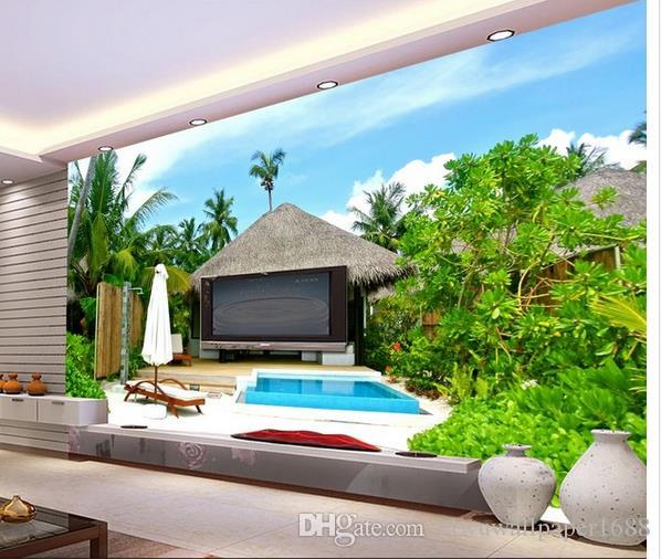 HD swimming pool landscape decorative painting mural 3d murals wallpaper for living room