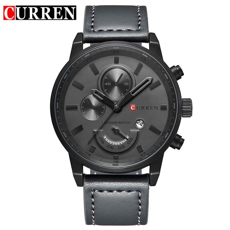 montre Curren pour montres à quartz-hommes ronde Hommes Dial Montre analogique avec affichage de la date 8217