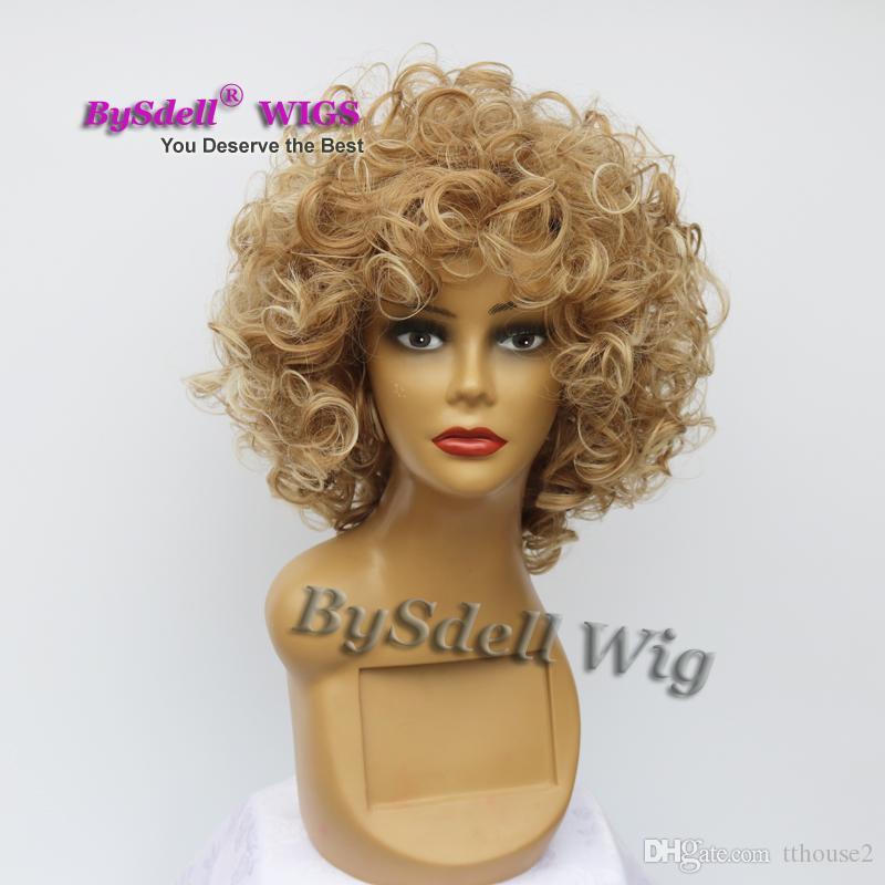 BySdell Peruk Sentetik Kısa Mat Sarışın Renk Saç Peruk Kısa Derin Dalga Peruk Yumurta Rulo Dalga Doğal Saç Peruk için Sürükle Kraliçe