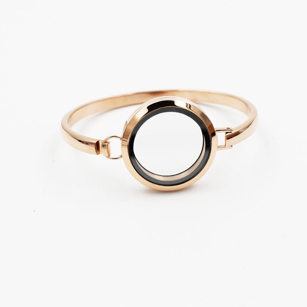 Mode 30MM 8-Zoll-Rose Gold Medaillons Armband-Armband-316L Edelstahl Plain Schraube Glas Schwimmdock leben Speicher Locket Armband