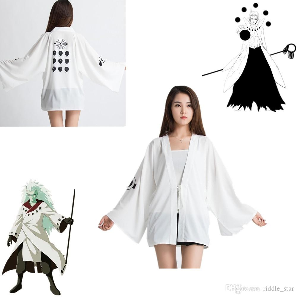 Bir Boyut Japonya Anime Naruto Ootutuki Hagoromo Rikudo Sennin Beyaz Cosplay Unisex Kostüm Haori şifon Bornoz Kimono Pijama Cloak