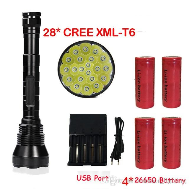 Newest Super Bright 50000 Lumen 5 Mode 28*T6 LED Flashlight Strong Torch Flash Light lamp torche with 4*26650 battery