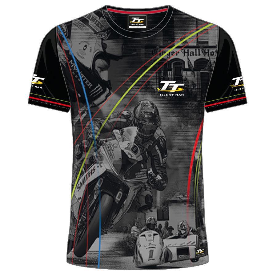 2018 Isle of Man Races Customs TShirt 3D Print Motorcycle T shirt الهيب هوب MX ATV رجل قمزة الشارع الشهير س الرقبة قمم