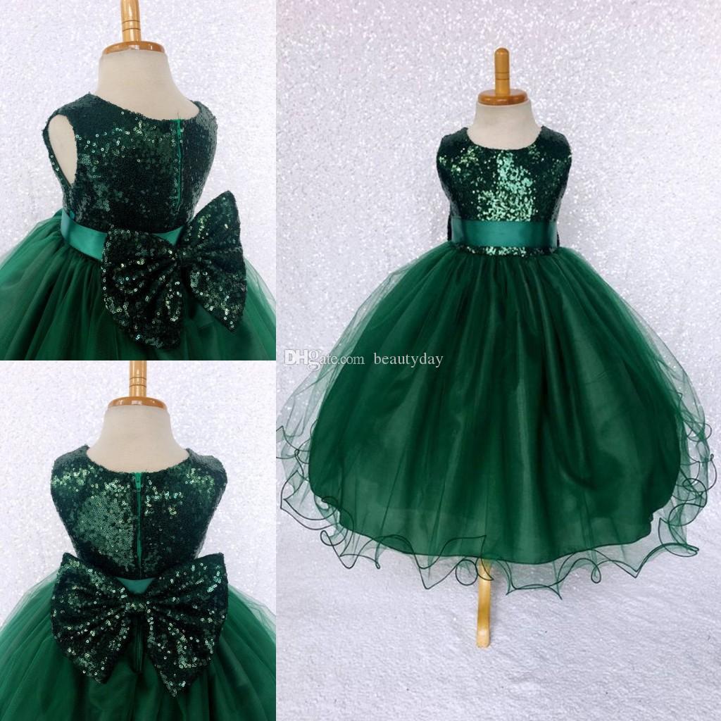 Dark Green Girls Pageant Dresses Little For Girls Gowns 2019 Toddler Kids Ball Gown Tea-Length Glitz Flower Girl Dress For Weddings