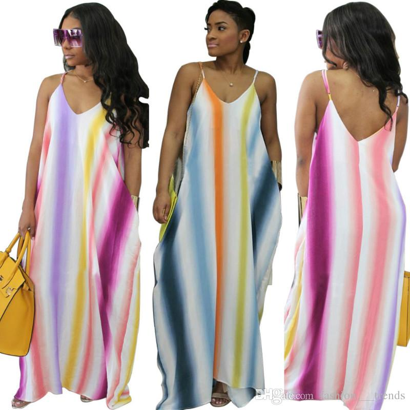 Women Sleeveless Spaghetti Strap Long Dress with Pockets Casual Loose Colorful Party Beach Maxi Striped Cami Dress Summer Floor Length dress