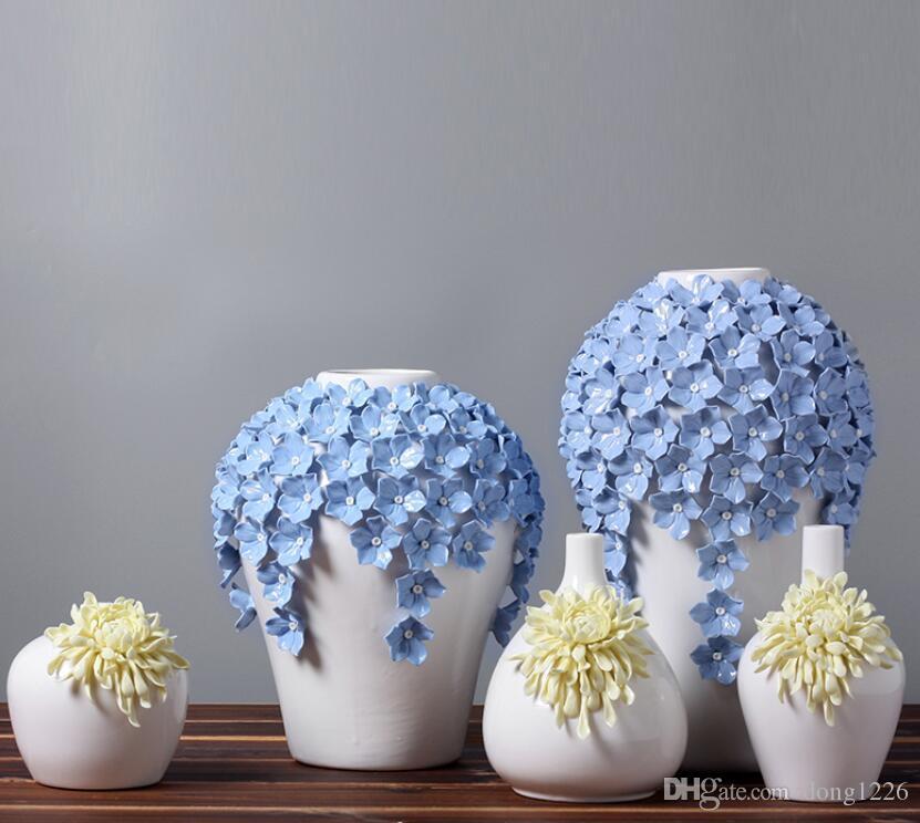 céramique jaune fleurs de marguerite vase décor à la maison grands vases de plancher pour la décoration de mariage