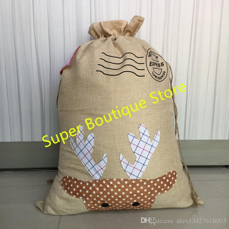 2018 burlap santa sack 2 styles Christmas candy gift bag for presents New Hot Sale Christmas Santa Sack Wholesale In Stock