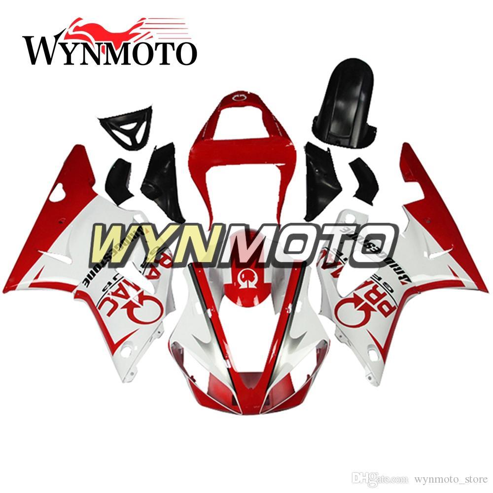 Full Cover For Yamaha YZF1000 R1 2000 2001 00 01 ABS Plastics Injection Motorbike Panels White Red Pramac Body Frames YZF R1 00 01 Fairings