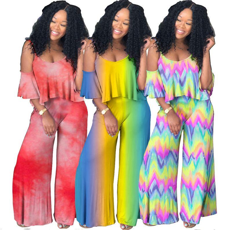 Novas roupas femininas dois conjuntos de peças gradiente V-neck estilingue camisa tie-dye africanos calças roupas 2 pedaço roupa com babados mulheres roupas de grife