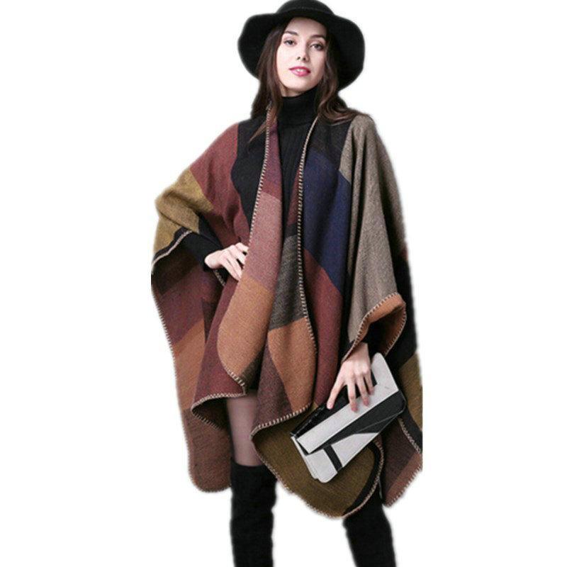 2018 Outono Inverno Cardigan Mulheres Grossa Poncho Xadrez Quente e Envoltório Plus Size Malha Pashmina Cashmere Suéteres Cape MY23