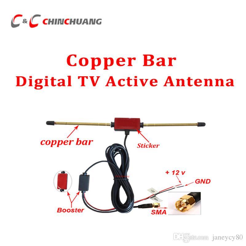 Novo ! Barra de cobre Car Digital DVB-T TV ISDB-T Antena Ativa Antena Móvel Móvel com Amplificador Booster e SMA Conector