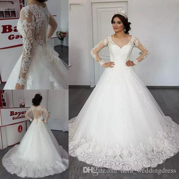 2020 Lace Ball Gown Wedding Dresses V Neck Lace Applique Bridal