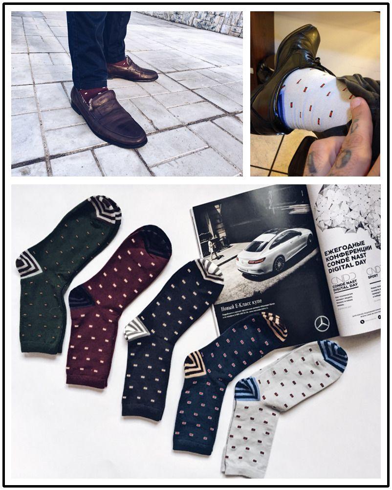 Calzini da uomo in cotone moda calzini colorati in arte jacquard Hit Colour Dot Calzini lunghi felici Abito da uomo Sock2PCS = 1PAIRS