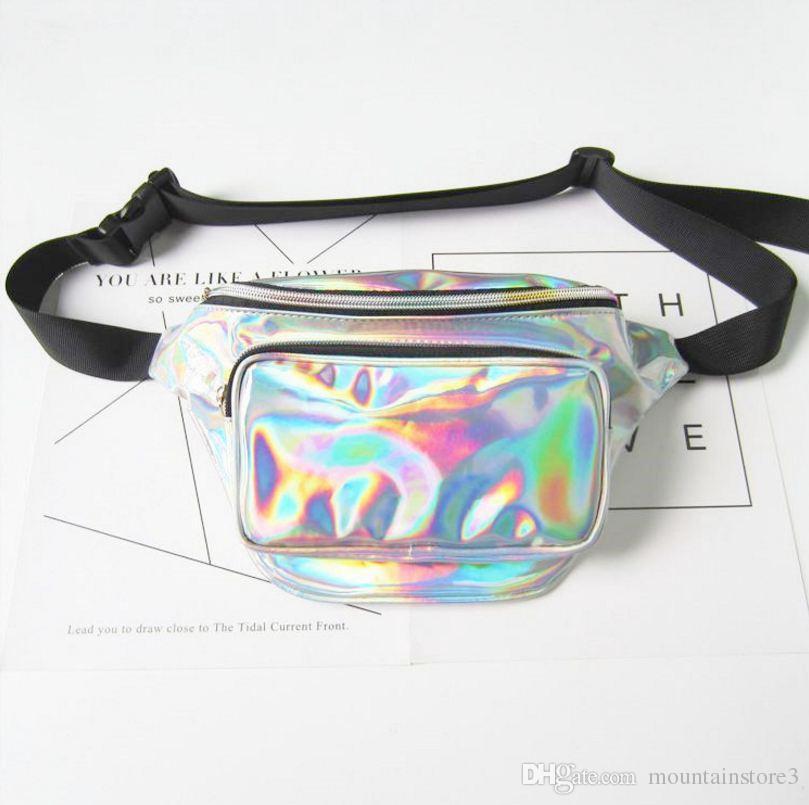 Hot Fashion New Men Laser Waist Bag Leather Belt Waterproof Bag Phone Women Thighbags Fanny Pack Holographic Leg Bag (9-Color)