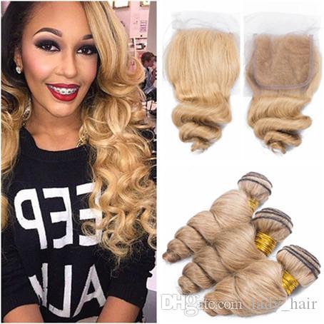 # 27 Honig-blonde malaysische lose Welle-Menschenhaar-Einschlag-Erweiterungen mit Verschluss-hellbrauner Jungfrau-Haar-Webart-Bündeln mit Spitze-Schließung 4x4