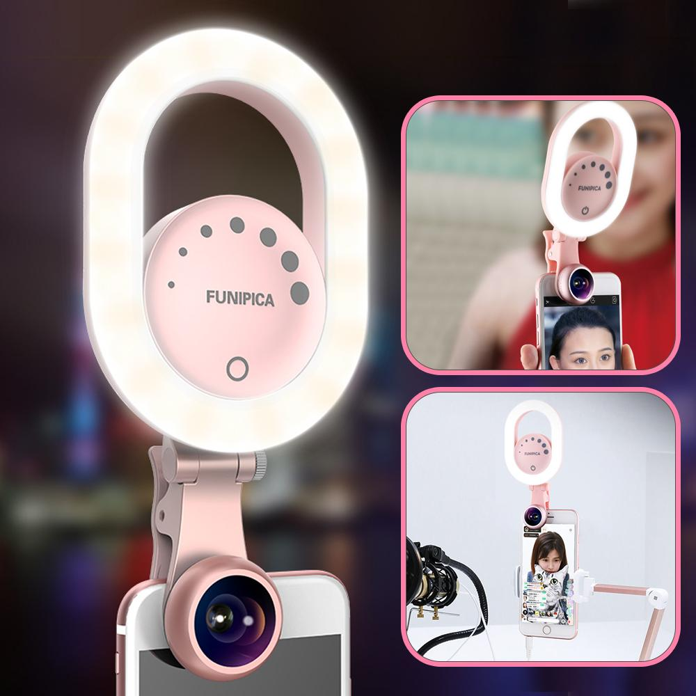 wholesale Live Stream Selfie Light with Wide Angle Lens Clip-on Rechargeable LED Ring Light for iPhone X/8/7 Plus Smartphone Tablet