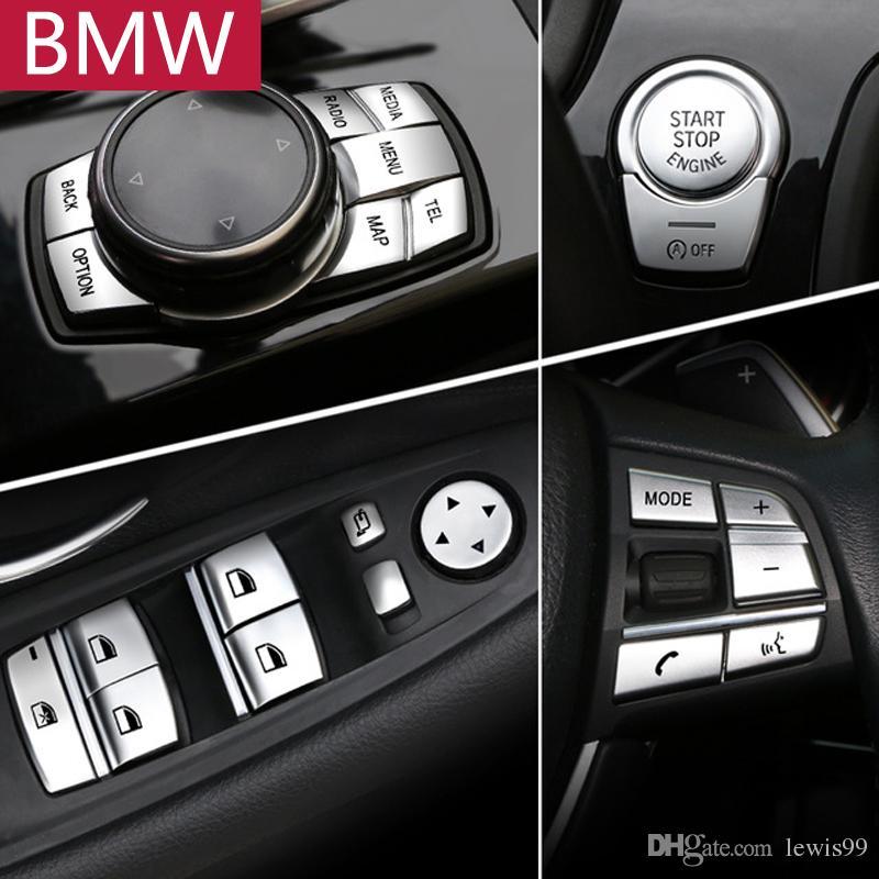 Accesorios del interior del coche ABS cromo botón cubierta pegatinas para BMW 1 2 3 4 5 7 Serie F10 F07 F06 F12 F13 F01 F02 F20 F30 F32 Car Styling