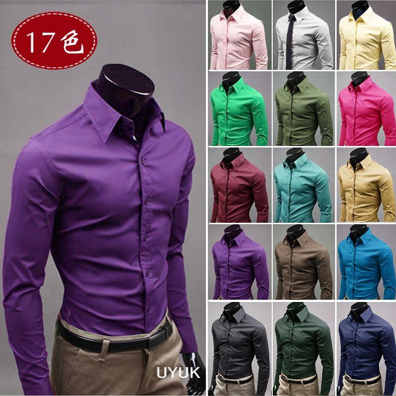 남자 패션 캐주얼 단색 캔디 컬러 긴 소매 슬림 피트 드레스 셔츠 TopFemmes camisa chemise camicia Mujer Clothes