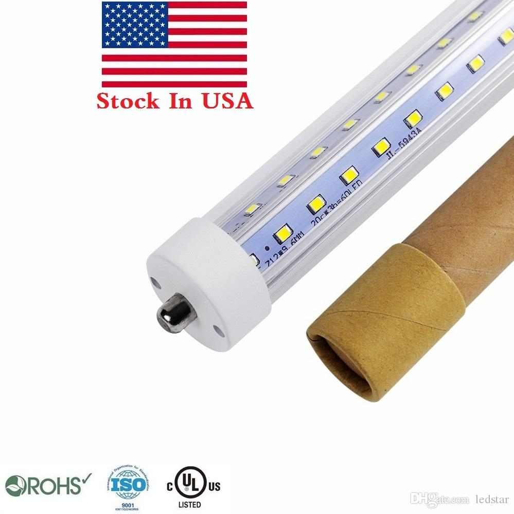 T8 8ft led أنابيب ضوء واحد دبوس fa8 8ft led المصابيح 45 واط 72 واط v شكل أدى أنابيب ضوء ac 85-265V + الأسهم في الولايات المتحدة الأمريكية