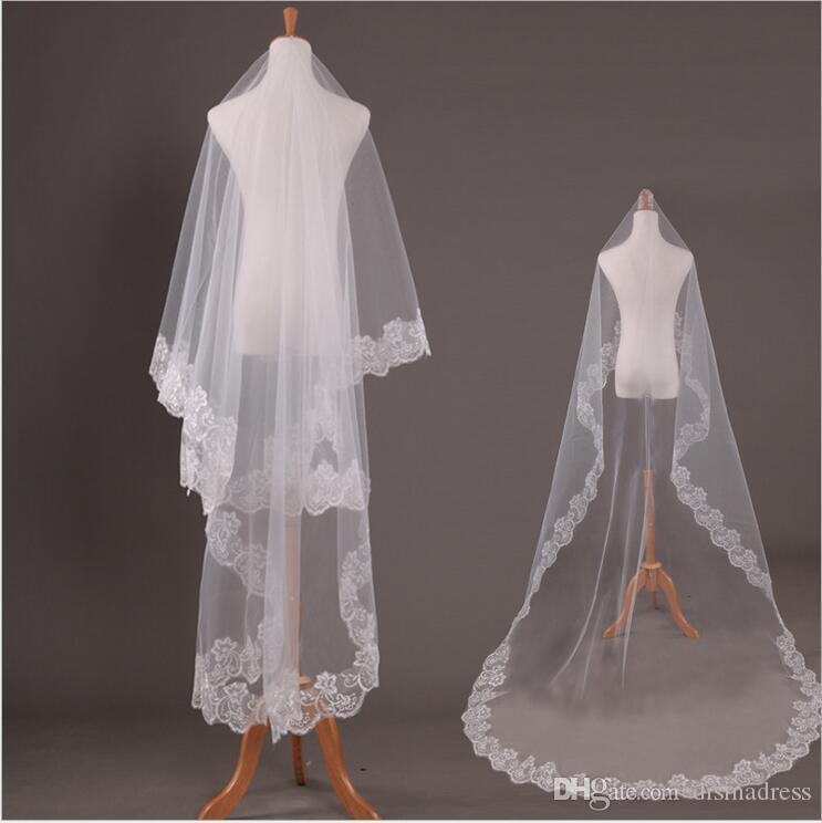 En stock largo apliques velo de novia novia velo alta calidad barato velos de novia accesorios nupciales una capa