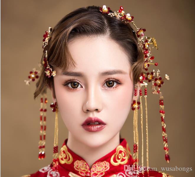 Gelinin Çin antik şapkalar Phoenix taç Klasik yeni düğün saçaklı aksesuarlar