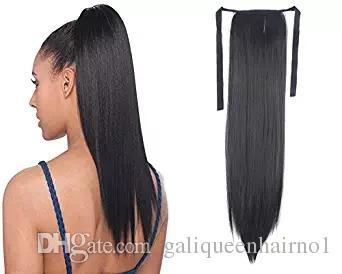 100% naturel Remy brésilien Cheveux Humains Ponytail Horsetail Clips dans / sur Extension de Cheveux Humains Cheveux Raides 100g