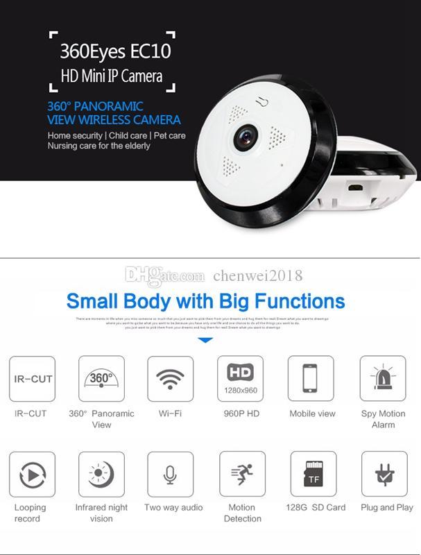 Wireless Wifi P2P IP Camera 360 degree VR Panoramic camera HD 960P 1.3MP night vision mini DVR Home Security CCTV Camera EC10-I6
